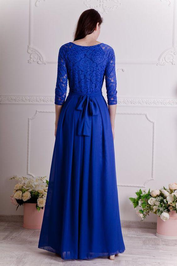 مدل لباس مجلسی کوتاه گیپور آبی درباری