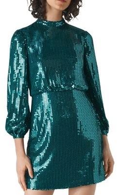 مدل لباس مجلسی با پارچه پولکی سبز