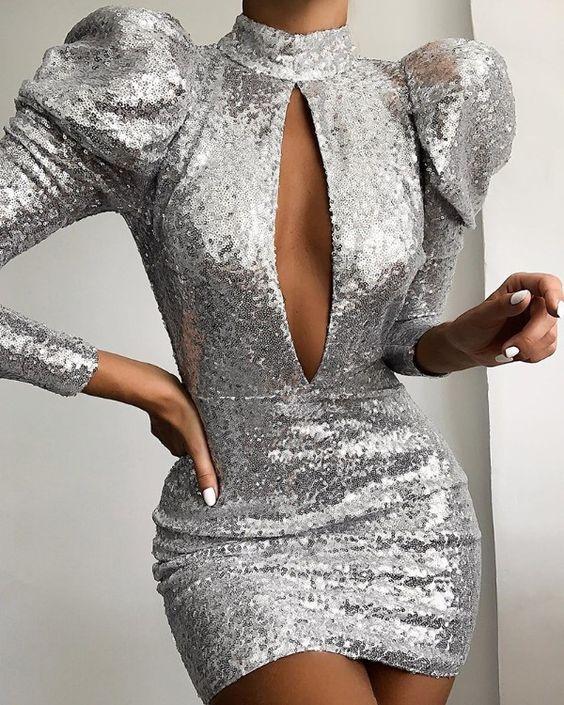 مدل لباس مجلسی با پارچه پولکی نقره ای
