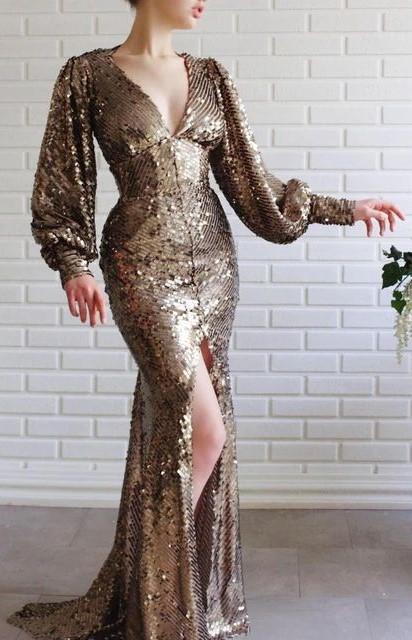 مدل لباس مجلسی با پارچه پولکی طلایی